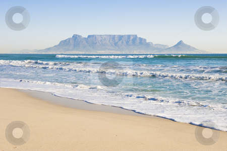 Table mountain Cape Town stock photo, Table Mountain - the world famous landmark in Cape Town, South Africa. Picture taken on a clear Winters day from the Blouberg Strand beach. by Nicolaas Traut