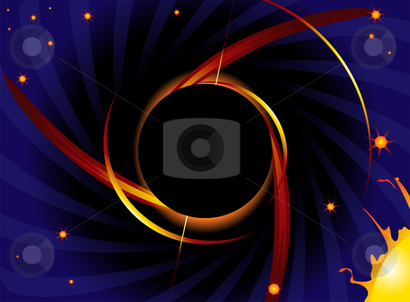 Black hole stock vector clipart, Giant black hole suck in matter from stars by Oxygen64