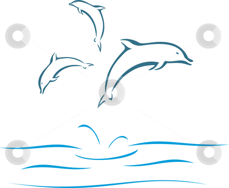 Dolphins stock vector clipart, Dolphins swimming and jumping out of the water in sea by Oxygen64