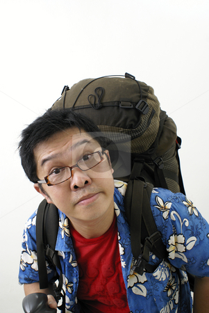 Tired asian backpacker stock photo, Tired asian backpacker by Wong Chee Yen