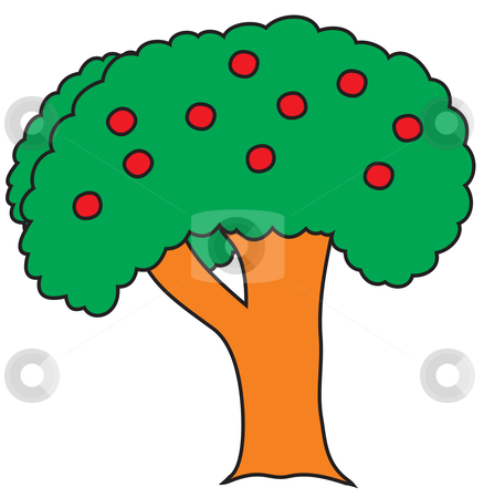 Tree cartoon stock vector clipart, Tree cartoon sketch painted in child style by Oxygen64