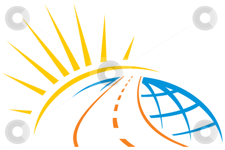 Road across world stock vector clipart, Road around whole world with sunrise illustration by Oxygen64