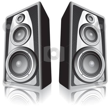 Speakers on white background stock vector clipart, Two speakers isolated on white background by Oxygen64