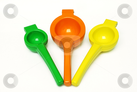 Citrus Fruit Squeezers stock photo, Lime, Orange, and Lemon squeezers on white background by Denis Radovanovic