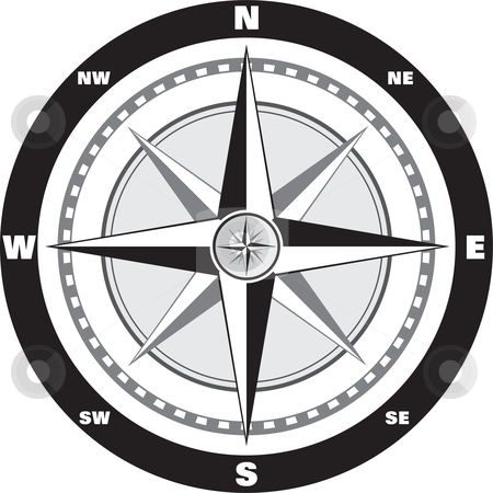 Wind rose compass stock vector clipart, Modern wind rose compass for your map by Oxygen64
