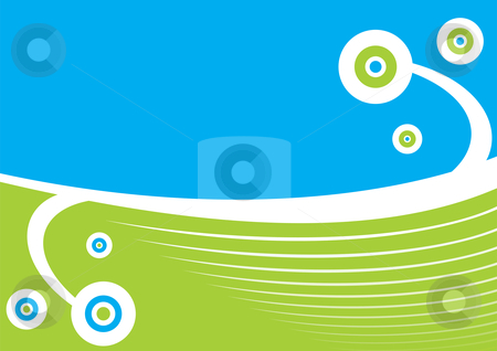 Abstract background stock vector clipart, Blue and green spring abstract background by Oxygen64