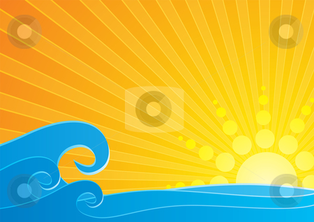 Sunset over sea stock vector clipart, Bright sunset over sea water waves by Oxygen64