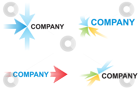 Logo templates with arrows stock vector clipart, Logo with arrows symbolizes speed in business by Oxygen64
