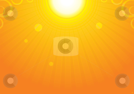 Sun background stock vector clipart, Very hot sun at summer sky by Oxygen64