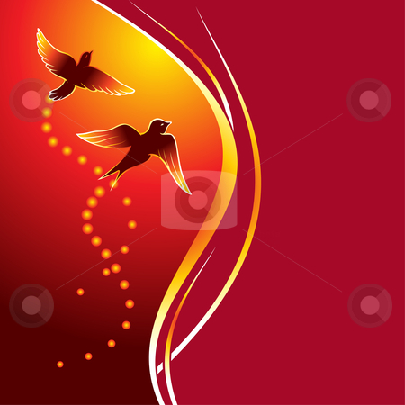 Firebirds stock vector clipart, Two birds flying at abstract glowing background by Oxygen64