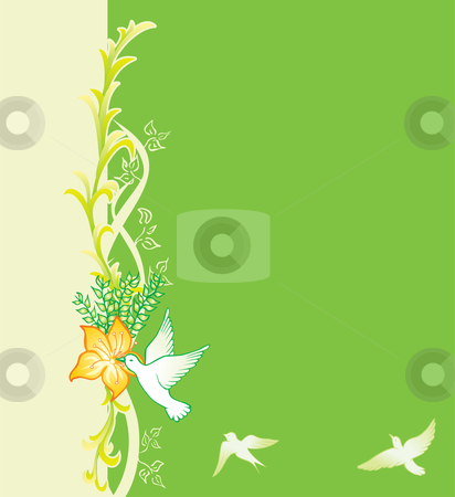 Spring card stock vector clipart, Green background with floral pattern and birds by Oxygen64
