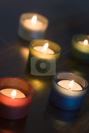 Tealights stock photo, A set of 5 tea light candles with a narrow depth of focus, representation of Diwali by Stephen Gibson