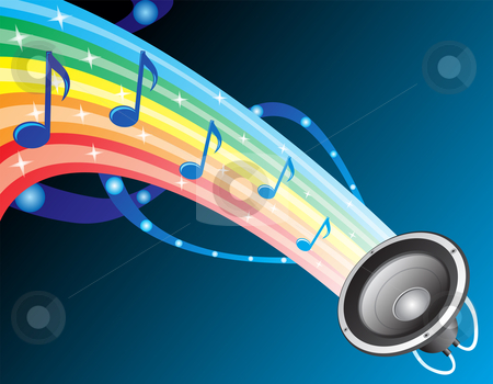 Sound of rainbow stock vector clipart, Colourful composition with music notes at rainbow by Oxygen64