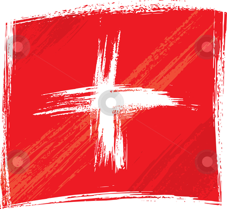 Grunge Switzerland flag stock vector clipart, Switzerland national flag created in grunge style by Oxygen64