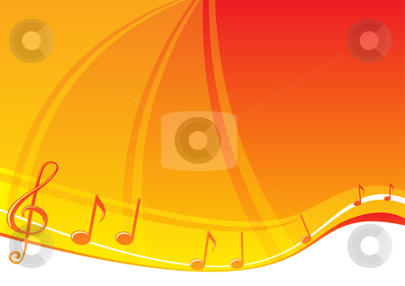 Music background stock vector clipart, Music notes at bright orange background by Oxygen64
