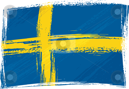 Grunge Sweden flag stock vector clipart, Sweden national flag created in grunge style by Oxygen64