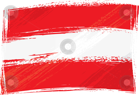 Grunge Austria flag stock vector clipart, Austria national flag created in grunge style by Oxygen64