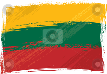 Grunge Lithuania flag stock vector clipart, Lithuania national flag created in grunge style by Oxygen64