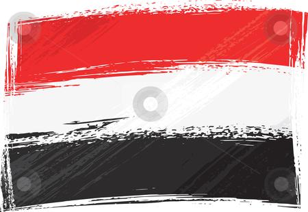 Yemen flag stock vector clipart, Yemen national flag created in grunge style by Oxygen64