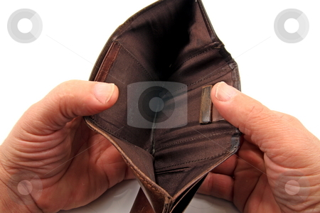 Pennyless stock photo, Empty wallet in ,financial,  dept by Jack Schiffer
