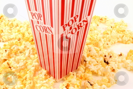 Popcorn stock photo, Popcorn bucket  movie style snack by Jack Schiffer