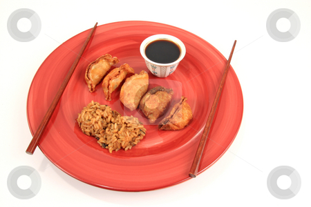 Mandoo stock photo, Korean vegetable rolls can be eaten fried or steamed with soy vinigar sauce by Jack Schiffer