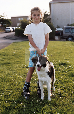 MPIXIS550737 stock photo, Girl with pet dog by Mpixis World