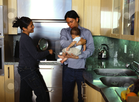 MPIXIS589063 stock photo, Young family in kitchen by Mpixis World