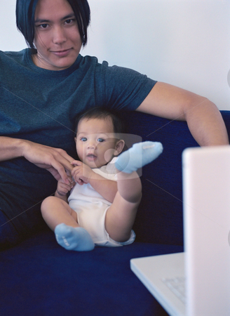MPIXIS589031 stock photo, Father sitting with baby by Mpixis World
