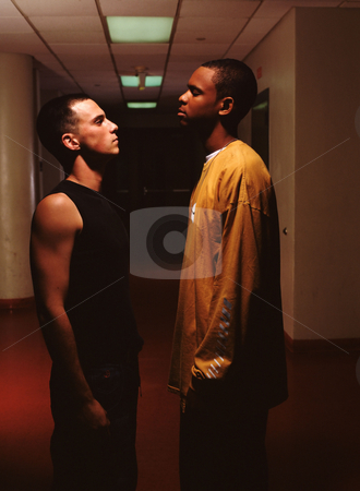 MPIXIS591026 stock photo, Men having a confrontation in corridor by Mpixis World