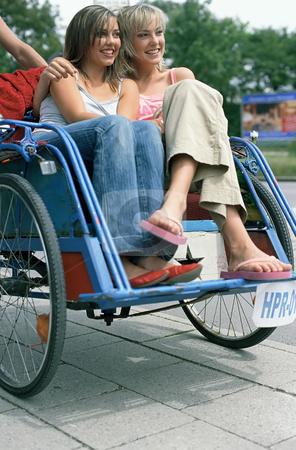 MPIXIS613080 stock photo, Young women riding rickshaw by Mpixis World