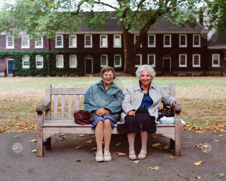 MPIXIS551049 stock photo, Senior women sitting on a wooden bench by Mpixis World