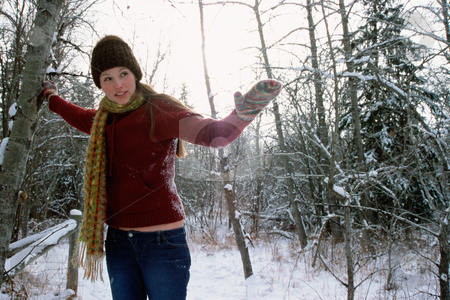 MPIXIS580005 stock photo, Girl steadying herself in snow by Mpixis World