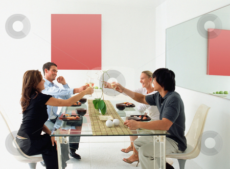 Friends at dinner party stock photo, Friends at dinner party by Mpixis World