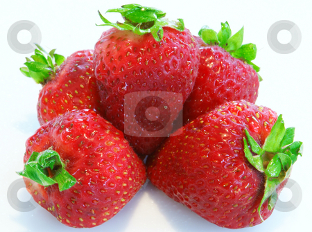 Fresh Strawberries stock photo, Five strawberrys stacked on a white background by Sam Sapp