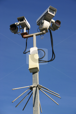 Two CCTV street security cameras stock photo, Two CCTV street security cameras by Stephen Rees