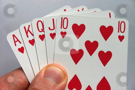 Royal flush stock photo, Holding a Royal Flush by Stephen Rees
