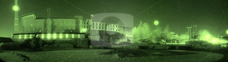 Bessbrook in Northern Ireland stock photo, This is an awesome panormic photo of one of the most famous helicopter landing sites in Northern Ireland's history.  Seen through Night Vision Goggles. by ANDREW NORRIS