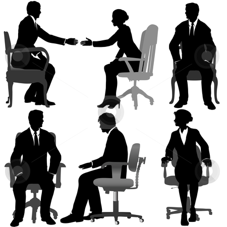 Business Men & Business Women Sit in Office Chairs stock vector clipart, Silhouettes of Business men & women sit on office chairs. Interchangeable elements: each person and chair is a separate layer/path. by Michael Brown