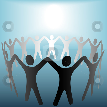 Circle of People Hold Hands Under Bright Copyspace Spot on Blue stock vector clipart, Includes a 4267x4267 JPG with the people on a clipping path. by Michael Brown