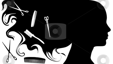 Hair Style Beauty Salon Background A stock vector clipart, Hair Style Beauty Elements & Background, image proportions are standard business card size. by Michael Brown