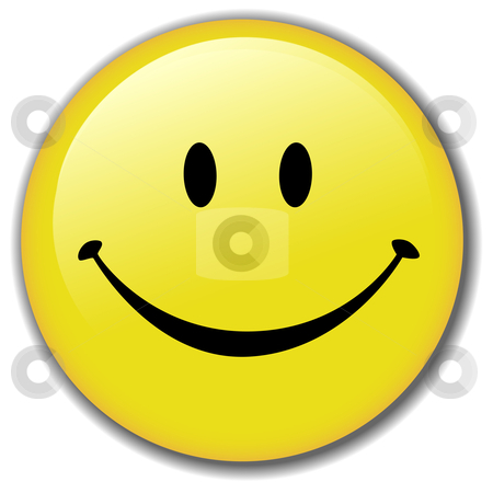 Happy Smiley Face Button Badge stock vector clipart, A Happy Smiley Face Button, or Badge, or Icon. Have a nice day! Clean render of a vector. by Michael Brown