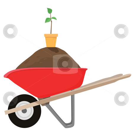 Wheelbarrow & Seedling stock vector clipart, Buy the wheelbarrow and get the dirt, pot, and sapling FREE. While supplies last. by Michael Brown