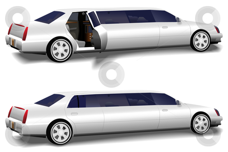 White Limousine Set of 2 with Limo Doors Open & Closed stock vector clipart, A white limousine set of two versions: rear limo closed and limo door open invitingly to the interior, for prom and business travel, wedding celebration transportation. by Michael Brown