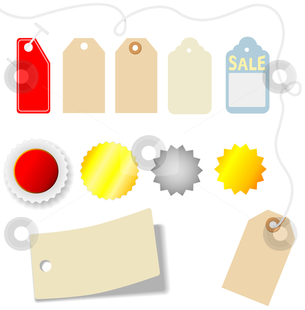 Price Tag & Sticker Set stock vector clipart, Set of assorted price tags and stickers on white. by Michael Brown