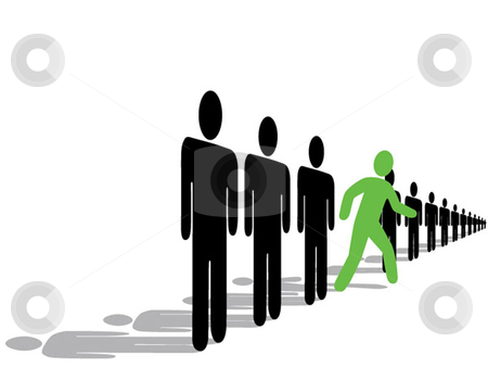 Bold Symbol Person Steps Out Of Line stock vector clipart, A bold green symbol person steps forward out line from the crowd, with reflections. by Michael Brown