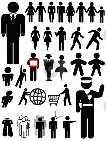 Symbol Person Silhouette Set stock vector clipart, Symbol people silhouettes, a set of various persons: family; couple; walk, business, police officer, group, women, shopping... by Michael Brown