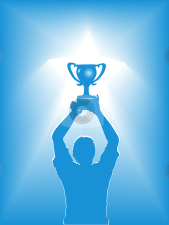 Victory Star Trophy Silhouette stock vector clipart, A victory winner & trophy in a star spotlight. Concept of people winning sports, business, life. by Michael Brown