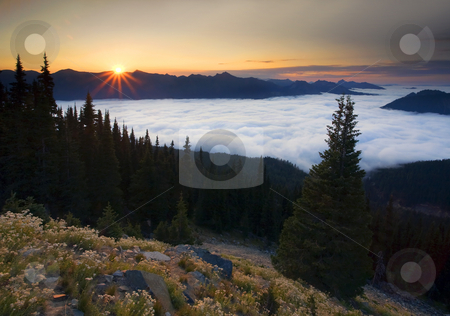 Above the Clouds stock photo, The crest of the Cascade Mountains pokes through a layer of low clouds as the sun rises. Smoke from the wildlfire up near Colville gives the sky and odd haze by Mike Dawson