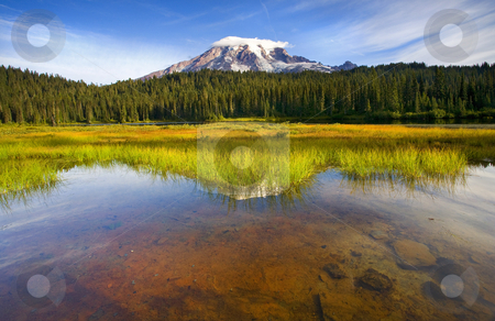 Rainier Capped stock photo, Mt. Rainier with early morning light on a small cloud cap  and reflected in the still waters of Reflection Lake. by Mike Dawson